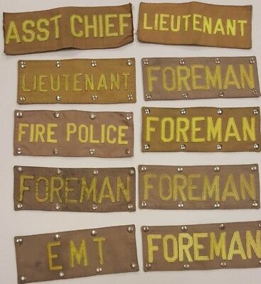 Lot of 10 Firefighter Turnout Gear Patches Lieutenant Asst Chief EMT Foreman Mor