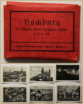 Hamburg 24 Original Photoabzüge um 1875 Original Lithografie Grafik Ortskunde sf