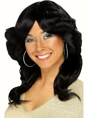 70's Flick Black Wig wavy curly hair Fancy dress costume 60's 1970s