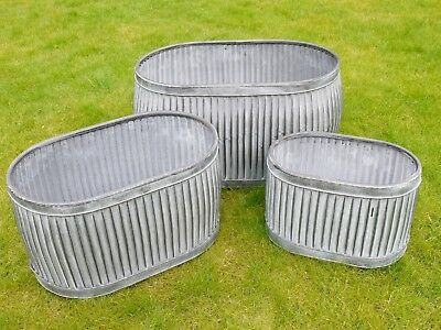 3 Large Vintage Galvanised Metal Planters Dolly Bath Tub Plant Flower Pot Garden
