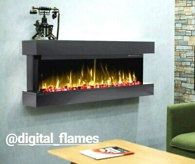 50 Inch Led 'Digital Flames' Black Mantel Glass Wall Mounted Electric Fire 2019