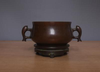 Jiacangzhenbao signed Old Chinese Bronze or Copper Incense Burner w/ Pedestal