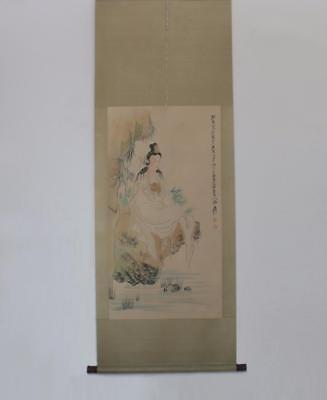Zhang Daqian Signed Old Chinese Hand Painted Guanyin Calligraphy Scroll