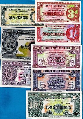 England - British Armed Special Vouchers 2nd Series  M19-M23 Both Varieties 1948