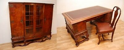 Antique Burr Walnut Carved Bookcase With Desk And Chair Matching Set