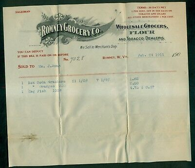 1911 Romney Grocery Co. Wholesale Grocers & Tobacco Dealers Invoice - Romney,WV