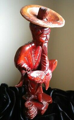 "Vintage - Asian Man With Fish - Wood Carving 13+"" - ? Cherry Wood ?"