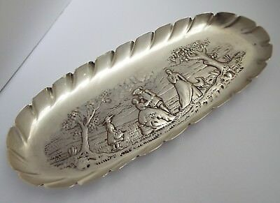 Lovely English Antique 18Th Century Georgian 1796 Solid Sterling Silver Pen Tray
