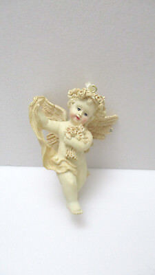 AVON Gift Collection Cherub Ornament   -  Cherub With Bouquet Of Flowers   - NEW