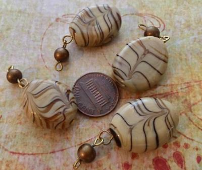 Vintage Large Tan Brown Swirl Lampwork Component Beads Charms 4