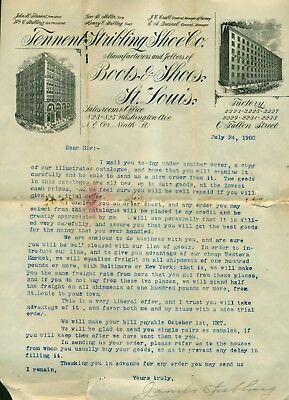1900 Tennent Stribling Shoe Co. Letter - St. Louis,MO