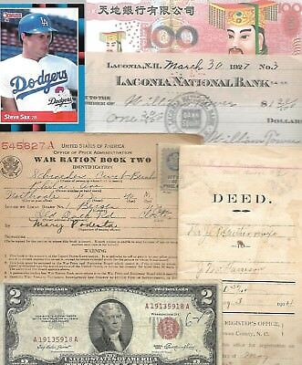 HUGE World Paper Document Lot: 70 items w/22 banknotes