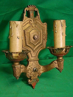 ANTIQUE Victorian Nouveau Deco double arm cast aluminum wall sconce ornate e