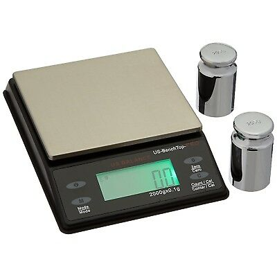 US Balance Bench Top Pro Parts Counting Scale 2000g x 0.1g & Calibration Weights