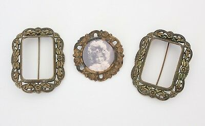 Lot of 3 Small Miniature Antique Victorian Photo Frames Pins Brooches Metal