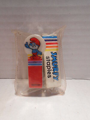 Vintage PEYO Smurf Stapler and Staples Wallace Berrie & Co. 1984