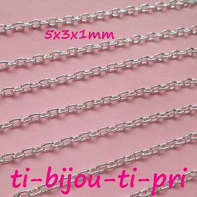 LOT of 2m - 2 meters CHAINS SILVER LINK OVAL 5 x 3 x1mm COSTAUD ! beads