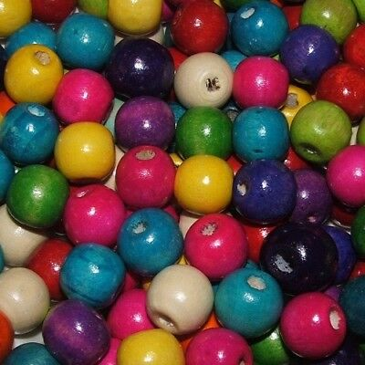 LOT of 40 LARGE BEADS wooden round MULTICOLORED 14 x 13 mm jewelry creation
