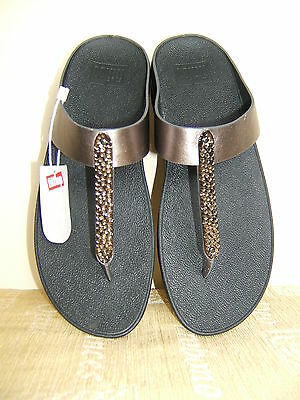 b5835e4d811e Fitflop Barrio Pewter Leather Toe Post Sandals Bnwt- Size 6.5 - Rrp £65 -