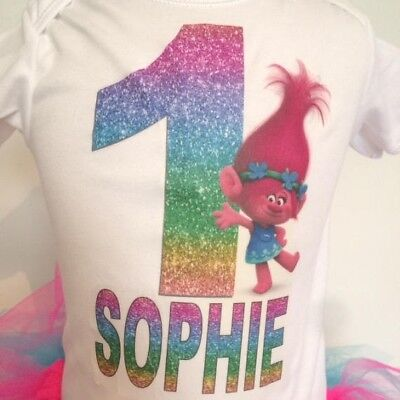 Poppy troll's girl's Birthday T-shirt - Personalised girl's birthday shirt.