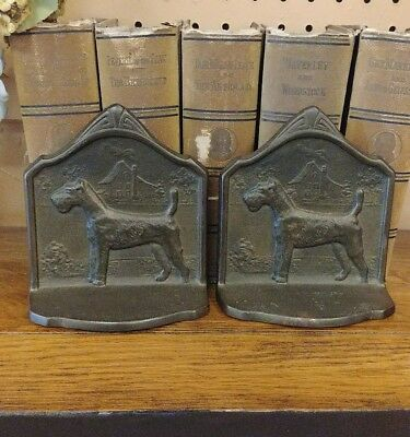 Vintage COPR 1929 Wire Haired Fox Terrier Bookends Book End Pair Cast Iron Bronz
