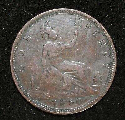 1860 Raised Lines Penny of Great Britain