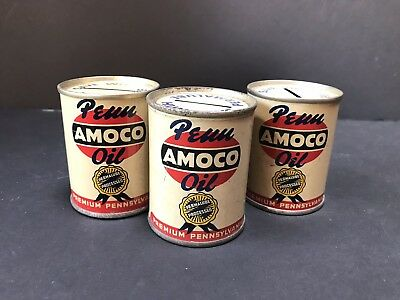 VTG 1950s PENN AMOCO OIL Save With Permalube Mini Oil Can Advertising Bank Lot 3