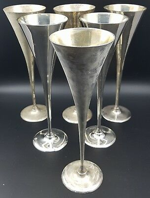 Vintage Set of 6 Silver Plate Goblets, 24cm Tall Flute Style.