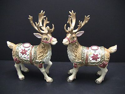 Fitz & Floyd Father Christmas Reindeer Candle Holders Pair Set Large