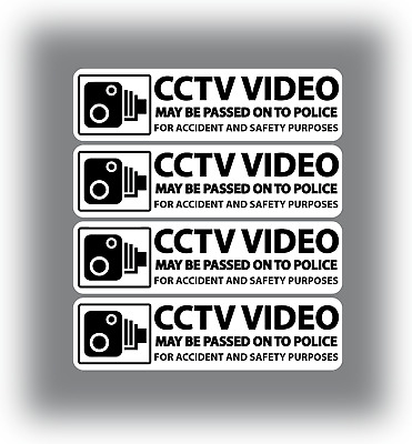 2 X CCTV Stickers In Car Video Warning Decals Shop Office Hotel White 130x35mm
