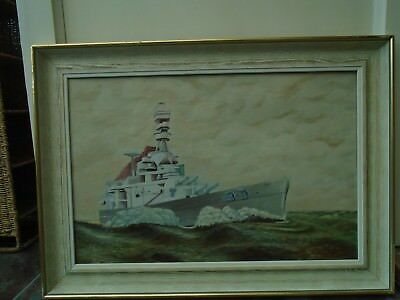 large original 1936 oil painting of a naval battleship    WOW  TAKE A LOOK