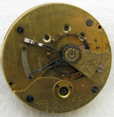 Antique 18S Illinois Delaware Keywind Hunter Pocket Watch Movement Parts