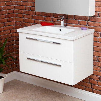 800mm Wall Hung Bathroom Vanity Unit & Basin Single Tap Hole White Gloss Modern