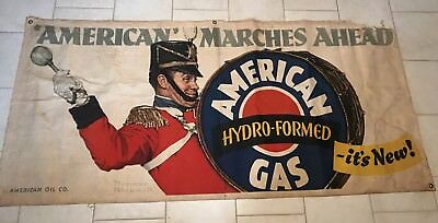 American Oil Company Amoco Norman Rockwell Banner Gas Pump Oil Vintage Sign 1942