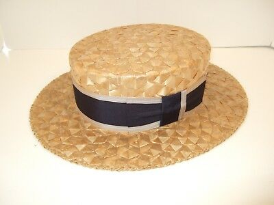 Antique Dobbs Fifth Avenue Straw Boater Size 7 3/8 Wide Weave Excellent
