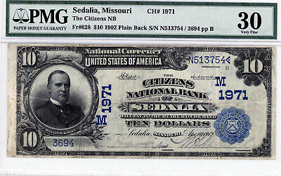 Sedalia, Missouri The Citizens NB  1902 PB $10 CH#1971 PMG 30