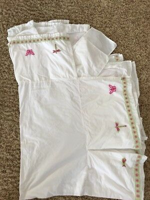 RARE Pottery Barn Kids Embroidered Crib Skirt Bedding EUC
