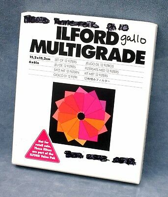 ILFORD MULTIGRADE SET OF 12 6x6 ENLARGING FILTERS.- FREE USA DELIVERY
