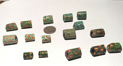 17 Vintage Venetian Millefiori Yellow Center Murine African Glass Trade Beads