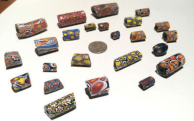 26 Vintage Venetian Millefiori Yellow Center Murine African Glass Trade Beads