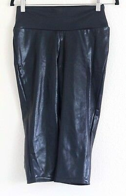 Balera Nylon Spandex Black Compression Gymnastic Dance Pants Sz Large Shiny Crop