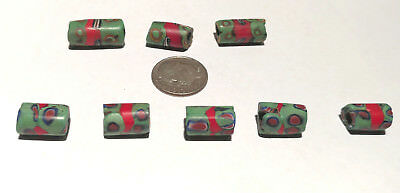 8 Rare Vintage Venetian Millefiori Banded Red Center Murine African Trade Beads