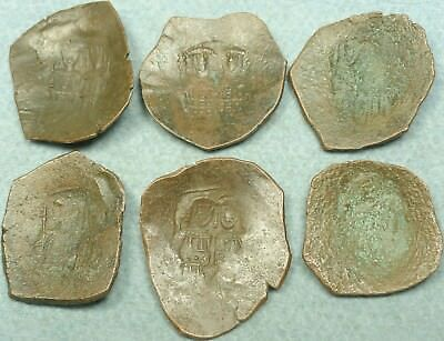 Lot Of 6 Byzantine Bronze Cup Coins