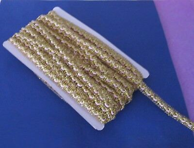 3 m of  Beautiful  Gold  Metallic  Braid    With   Lt  Pink   Cord   12  mm wide
