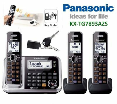Panasonic Tg7893 Dect 3 Handset Cordless Phone System Ans/machine B/tooth Key/fi