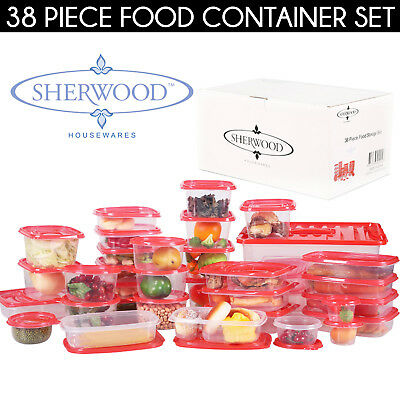 38 PIECE Food Storage Set Plastic Containers & Lids Big Small Square Round NEW