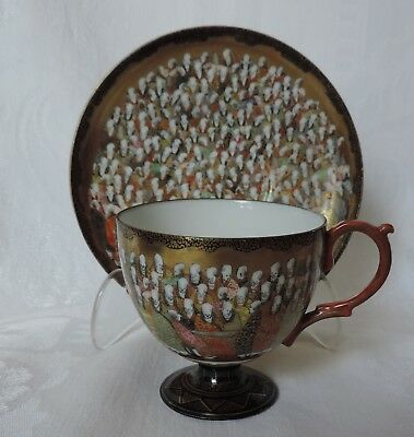 Antique Japanese Kutani, Footed Cup & Saucer, Thousand Faces