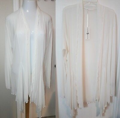 LAURA HLAVAC,  Long Semi Sheer Ruffle Edge Open Front Soft Cardigan, Long Sleeve