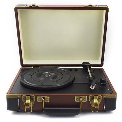 LoopTone Charging Portable Record Player 3 Speed Bluetooth Suitcase Turntable