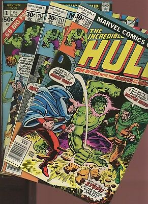 Incredible Hulk 210,211,212,Giant-Size 1 * 4 Book Lot * 1st App. of Constrictor!